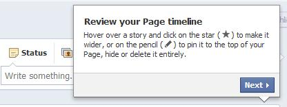 facebook timeline for pages review, pin, star